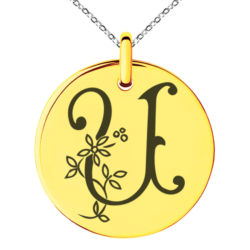 Stainless Steel Letter U Initial Floral Monogram Engraved Small Medallion Circle Charm Pendant Necklace