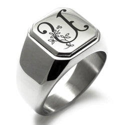 Stainless Steel Letter U Alphabet Initial Floral Monogram Engraved Square Flat Top Biker Style Polished Ring - Tioneer