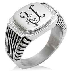 Stainless Steel Letter U Alphabet Initial Floral Monogram CZ Ribbed Needle Stripe Pattern Biker Style Polished Ring - Tioneer