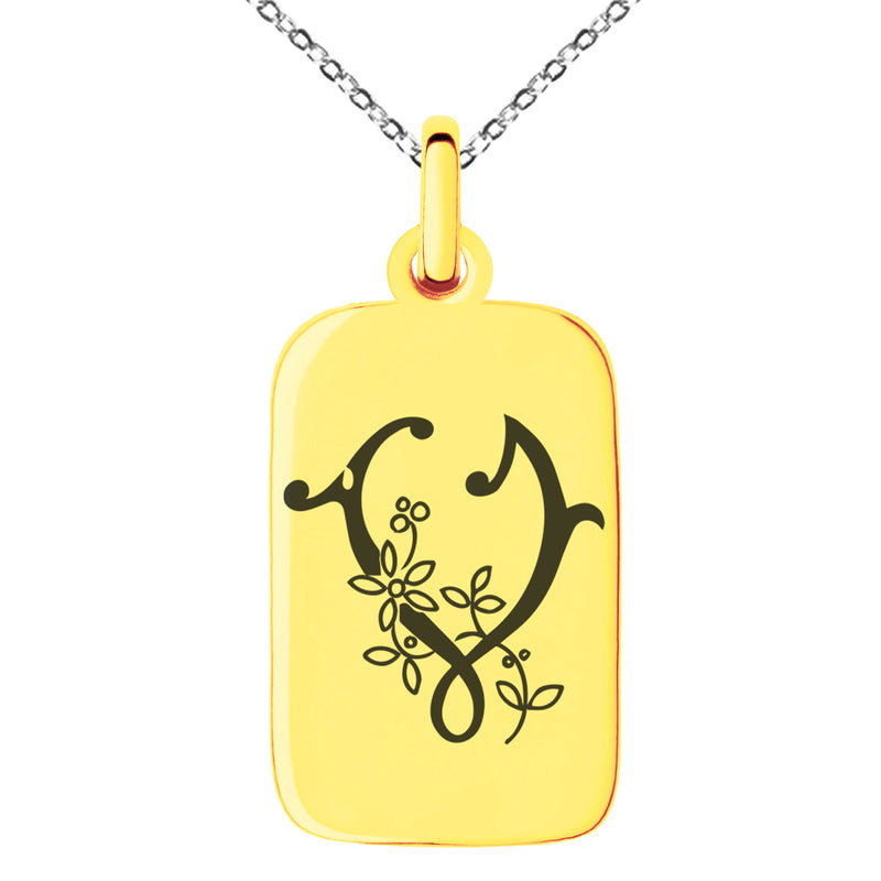 Stainless Steel Letter V Initial Floral Monogram Engraved Small Rectangle Dog Tag Charm Pendant Necklace