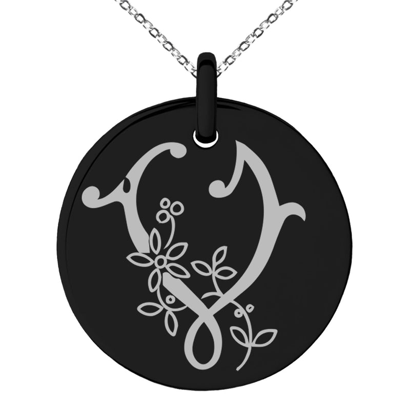 Stainless Steel Letter V Initial Floral Monogram Engraved Small Medallion Circle Charm Pendant Necklace