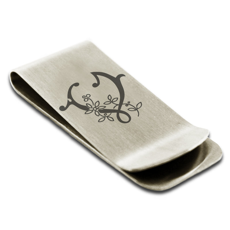 Stainless Steel Letter V Alphabet Initial Floral Monogram Engraved Money Clip Credit Card Holder - Tioneer
