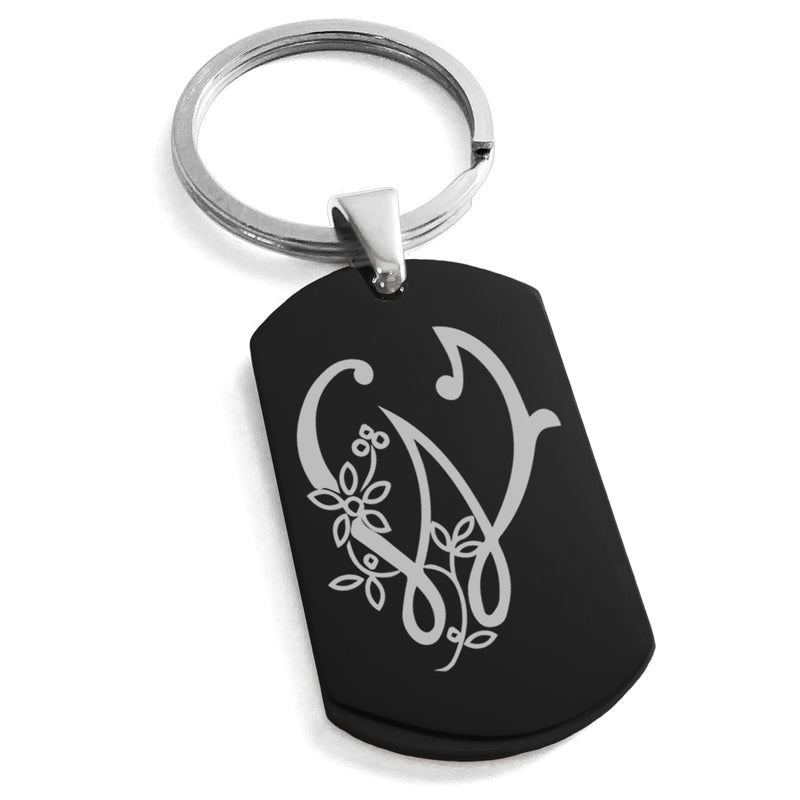 Stainless Steel Letter W Alphabet Initial Floral Monogram Engraved Dog Tag Keychain Keyring - Tioneer