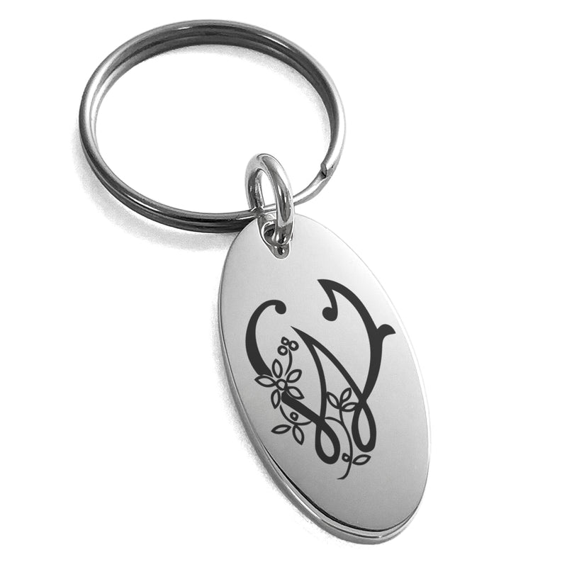 Stainless Steel Letter W Initial Floral Monogram Engraved Small Oval Charm Keychain Keyring - Tioneer