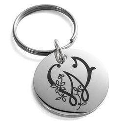 Stainless Steel Letter W Initial Floral Monogram Engraved Small Medallion Circle Charm Keychain Keyring - Tioneer