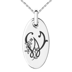 Stainless Steel Letter W Initial Floral Monogram Engraved Small Oval Charm Pendant Necklace