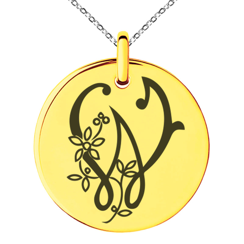 Stainless Steel Letter W Initial Floral Monogram Engraved Small Medallion Circle Charm Pendant Necklace