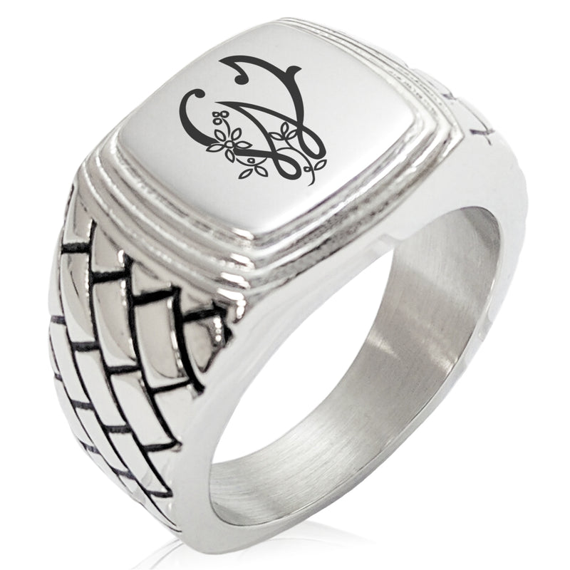Stainless Steel Letter W Alphabet Initial Floral Monogram Geometric Pattern Step-Down Biker Style Polished Ring - Tioneer