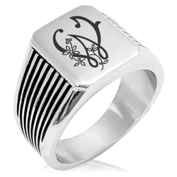 Stainless Steel Letter W Alphabet Initial Floral Monogram Needle Stripe Pattern Biker Style Polished Ring - Tioneer
