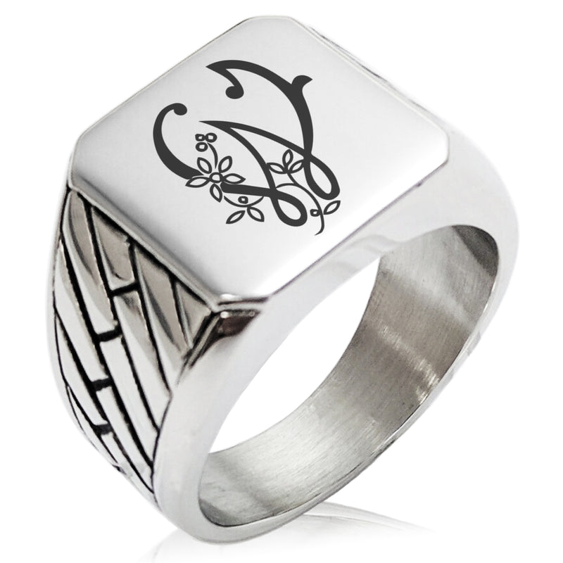 Stainless Steel Letter W Alphabet Initial Floral Monogram Geometric Pattern Biker Style Polished Ring - Tioneer