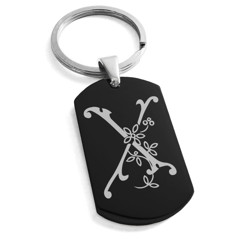 Stainless Steel Letter X Alphabet Initial Floral Monogram Engraved Dog Tag Keychain Keyring - Tioneer