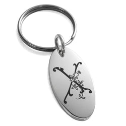 Stainless Steel Letter X Initial Floral Monogram Engraved Small Oval Charm Keychain Keyring - Tioneer