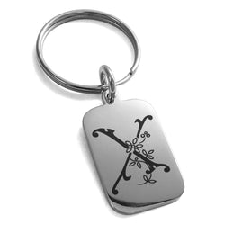 Stainless Steel Letter X Initial Floral Monogram Engraved Small Rectangle Dog Tag Charm Keychain Keyring - Tioneer
