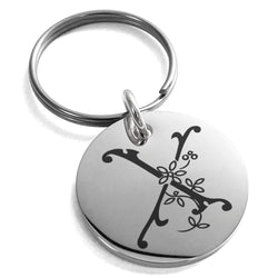 Stainless Steel Letter X Initial Floral Monogram Engraved Small Medallion Circle Charm Keychain Keyring - Tioneer