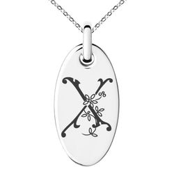 Stainless Steel Letter X Initial Floral Monogram Engraved Small Oval Charm Pendant Necklace