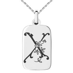 Stainless Steel Letter X Initial Floral Monogram Engraved Small Rectangle Dog Tag Charm Pendant Necklace