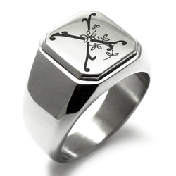Stainless Steel Letter X Alphabet Initial Floral Monogram Engraved Square Flat Top Biker Style Polished Ring - Tioneer
