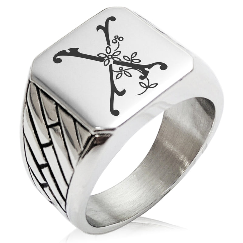 Stainless Steel Letter X Alphabet Initial Floral Monogram Geometric Pattern Biker Style Polished Ring - Tioneer