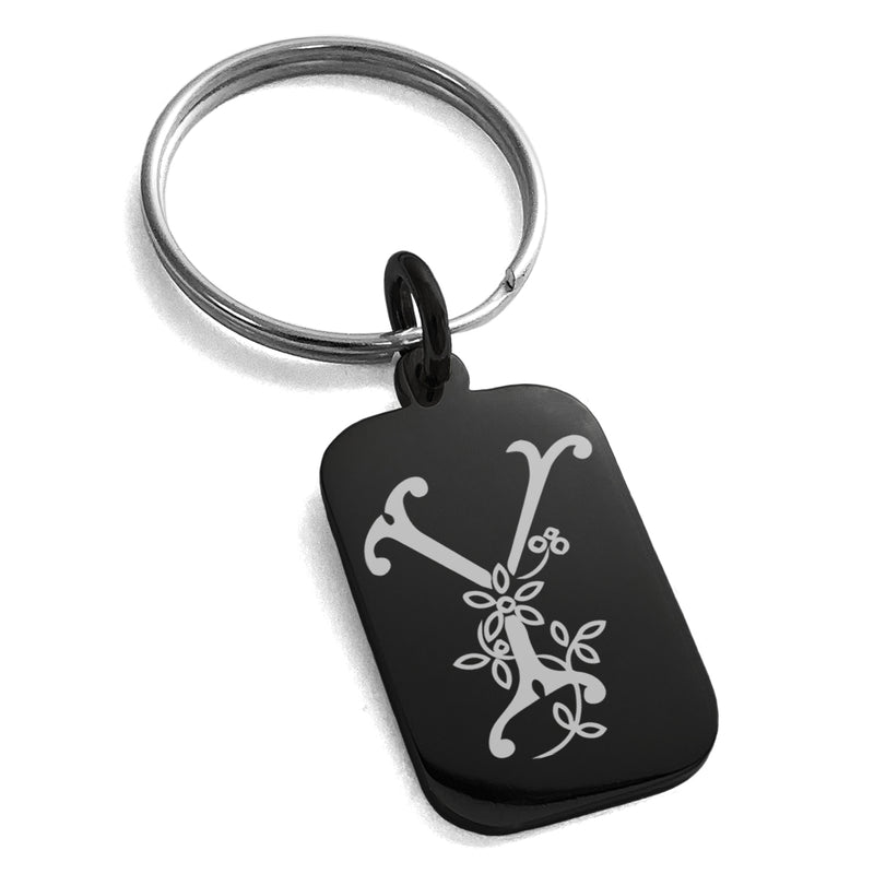 Stainless Steel Letter Y Initial Floral Monogram Engraved Small Rectangle Dog Tag Charm Keychain Keyring - Tioneer