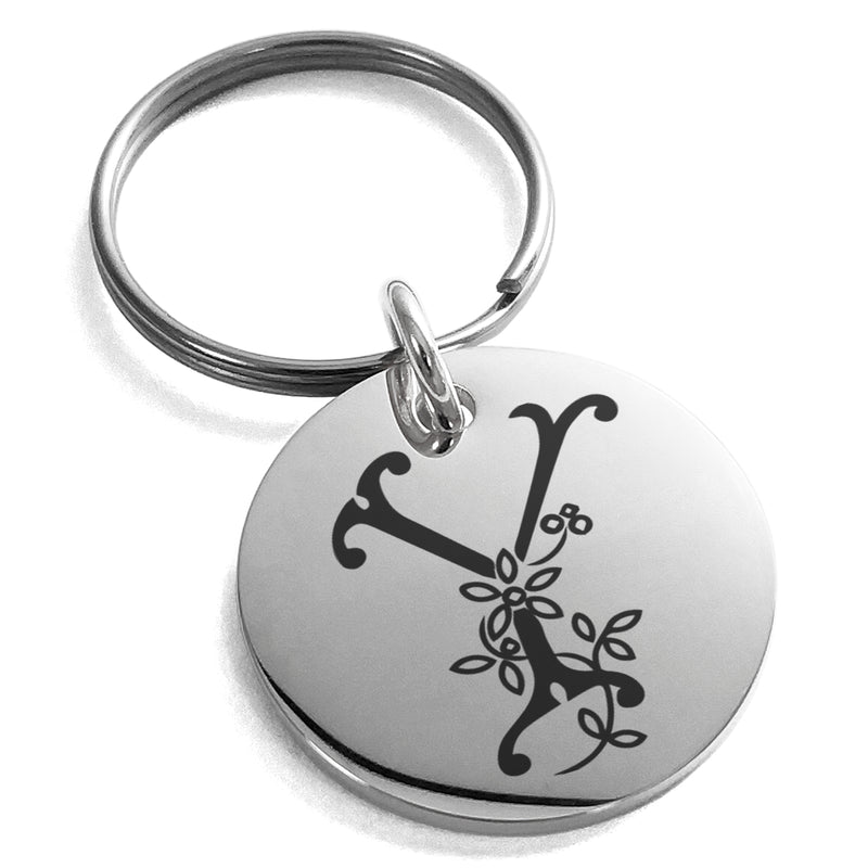 Stainless Steel Letter Y Initial Floral Monogram Engraved Small Medallion Circle Charm Keychain Keyring - Tioneer