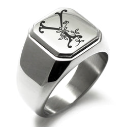 Stainless Steel Letter Y Alphabet Initial Floral Monogram Engraved Square Flat Top Biker Style Polished Ring - Tioneer