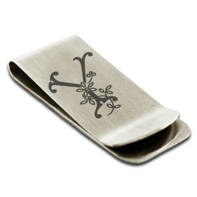 Stainless Steel Letter Y Alphabet Initial Floral Monogram Engraved Money Clip Credit Card Holder - Tioneer