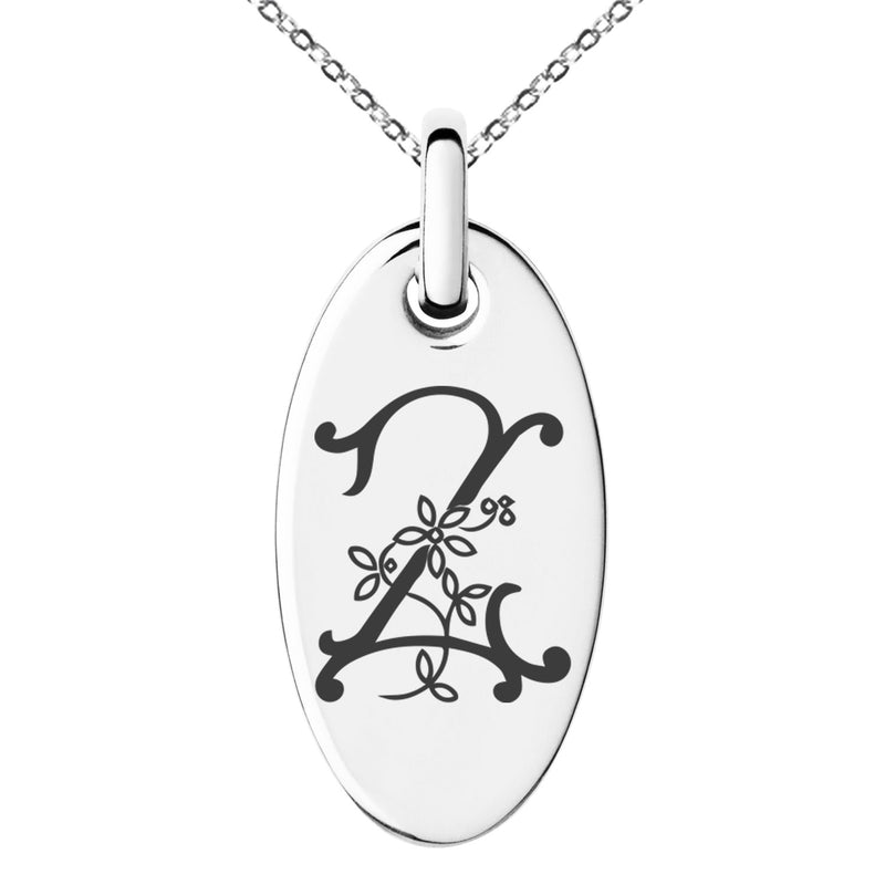 Stainless Steel Letter Z Initial Floral Monogram Engraved Small Oval Charm Pendant Necklace - Tioneer