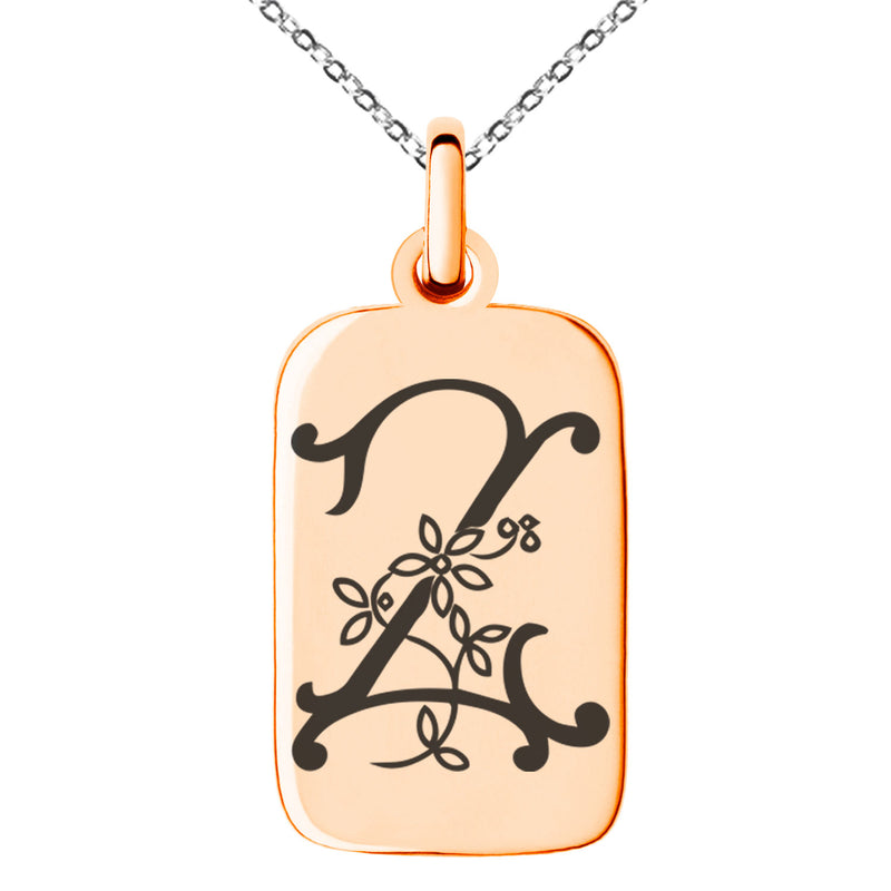 Stainless Steel Letter Z Initial Floral Monogram Engraved Small Rectangle Dog Tag Charm Pendant Necklace - Tioneer