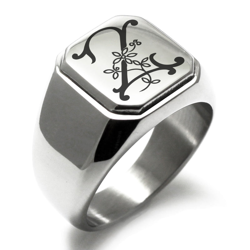 Stainless Steel Letter Z Alphabet Initial Floral Monogram Engraved Square Flat Top Biker Style Polished Ring - Tioneer