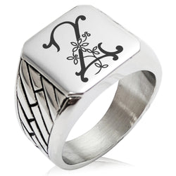 Stainless Steel Letter Z Alphabet Initial Floral Monogram Geometric Pattern Biker Style Polished Ring - Tioneer