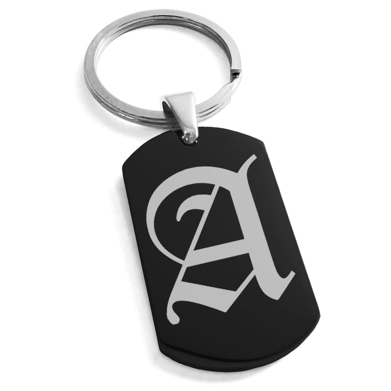 Stainless Steel Letter A Alphabet Initial Old English Monogram Engraved Dog Tag Keychain Keyring - Tioneer