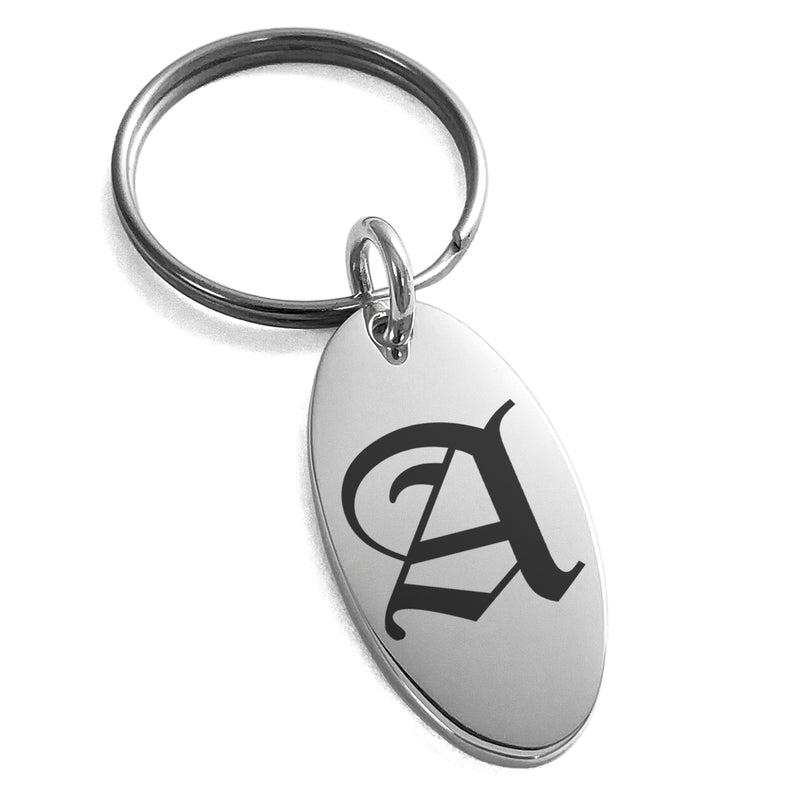 Stainless Steel Letter A Initial Old English Monogram Engraved Small Oval Charm Keychain Keyring - Tioneer