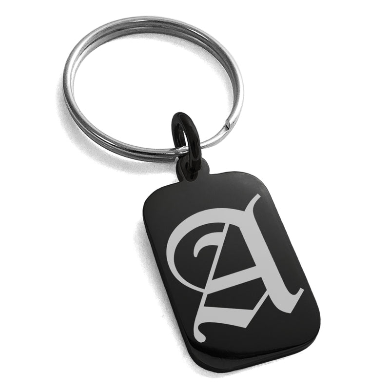 Stainless Steel Letter A Initial Old English Monogram Engraved Small Rectangle Dog Tag Charm Keychain Keyring - Tioneer