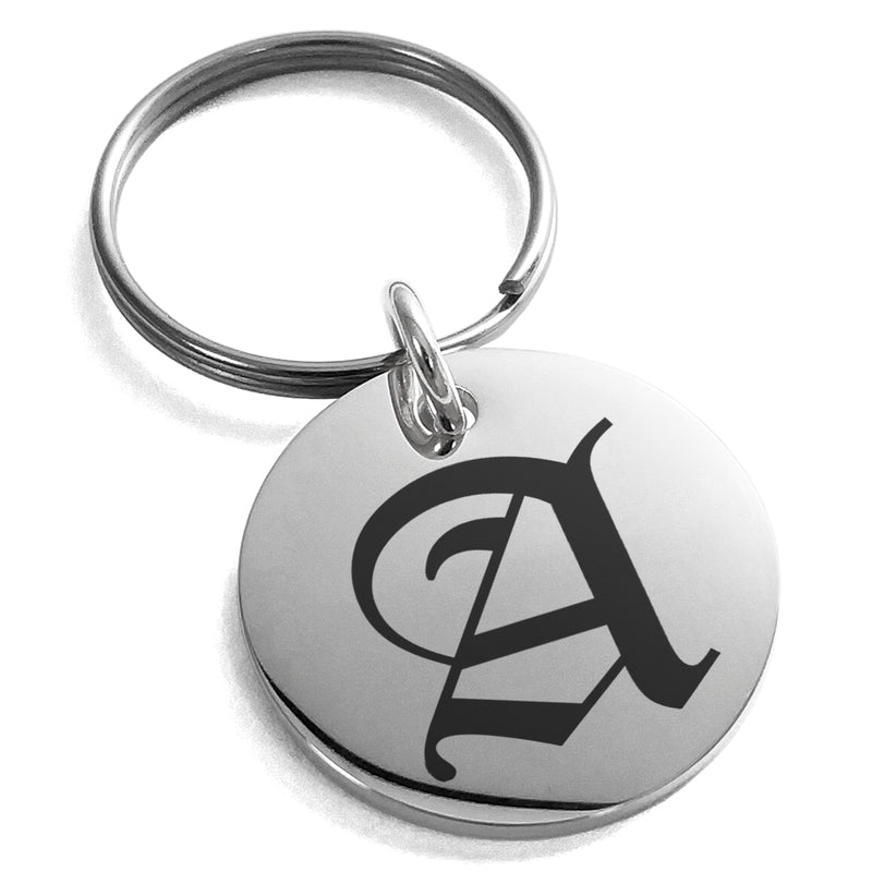 Stainless Steel Letter A Initial Old English Monogram Engraved Small Medallion Circle Charm Keychain Keyring - Tioneer
