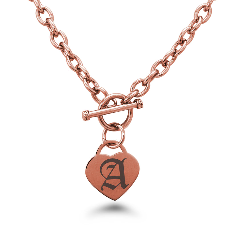 Stainless Steel Letter A Alphabet Initial Old English Monogram Engraved Heart Charm Toggle Link Necklace - Tioneer