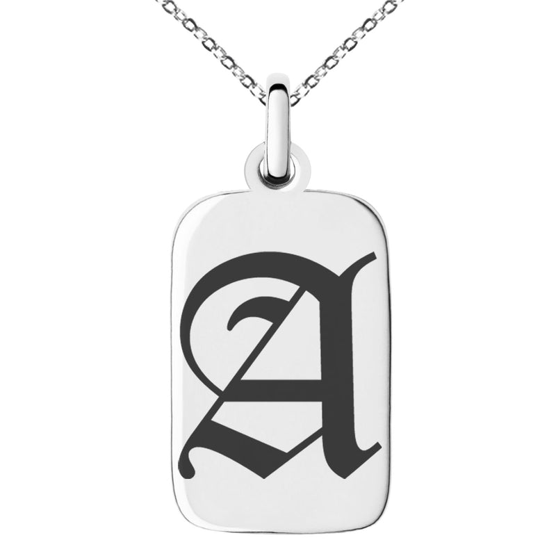 Stainless Steel Letter A Initial Old English Monogram Engraved Small Rectangle Dog Tag Charm Pendant Necklace