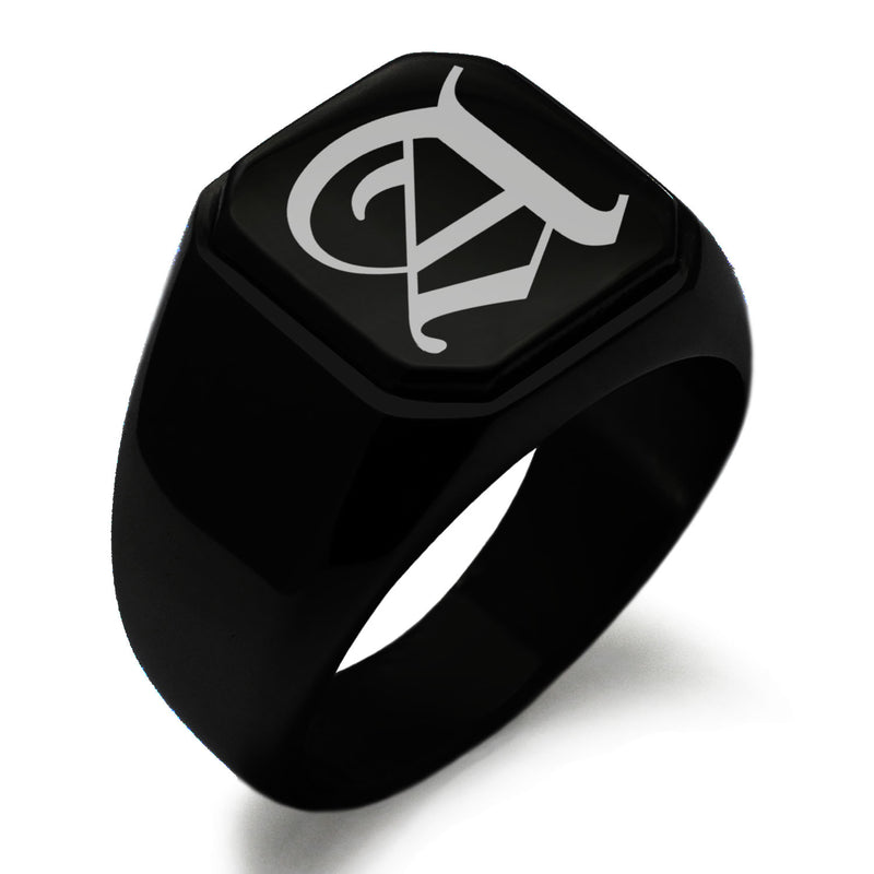 Stainless Steel Letter A Alphabet Initial Old English Monogram Engraved Square Flat Top Biker Style Polished Ring - Tioneer