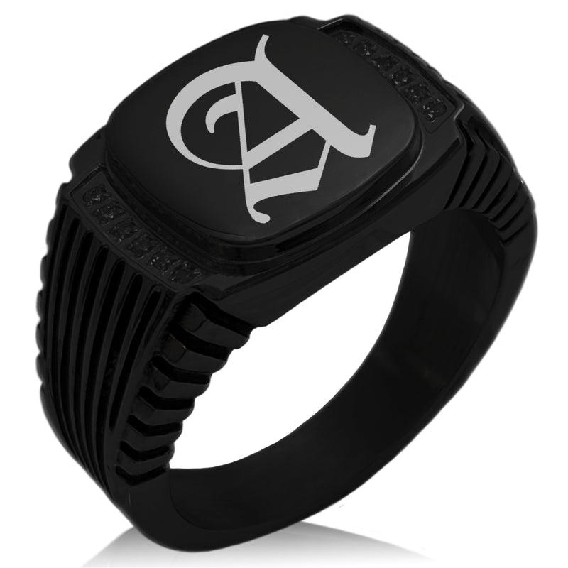 Stainless Steel Letter A Alphabet Initial Old English Monogram CZ Ribbed Needle Stripe Pattern Biker Style Polished Ring - Tioneer