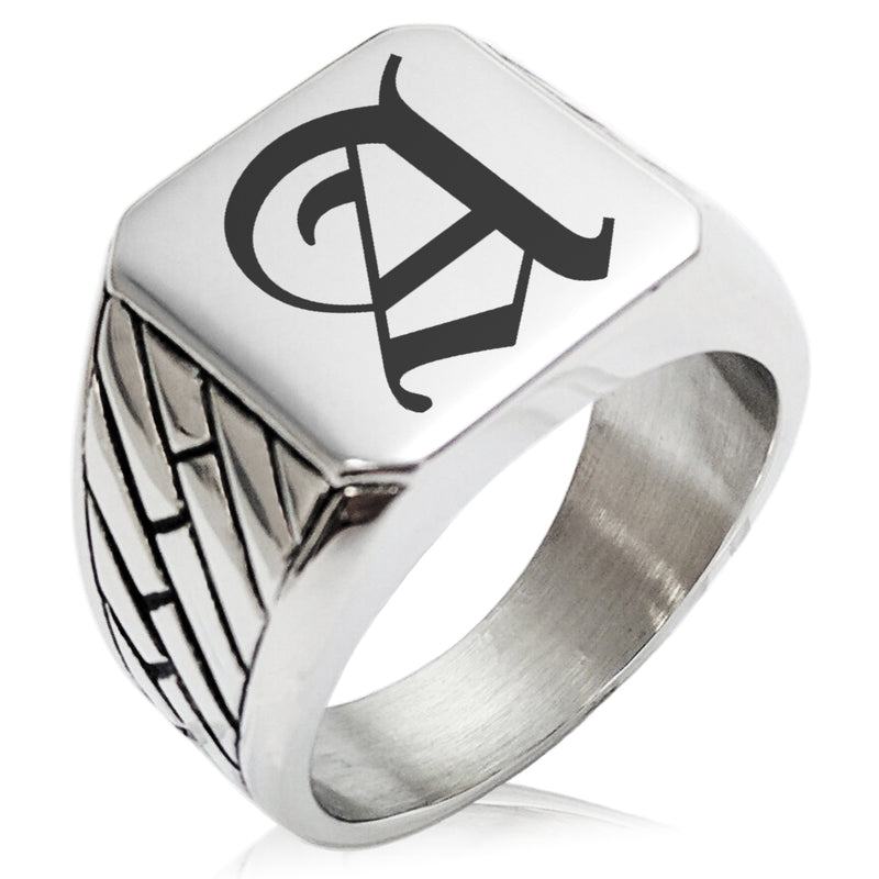 Stainless Steel Letter A Alphabet Initial Old English Monogram Geometric Pattern Biker Style Polished Ring - Tioneer