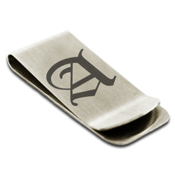 Stainless Steel Letter A Alphabet Initial Old English Monogram Engraved Money Clip Credit Card Holder - Tioneer