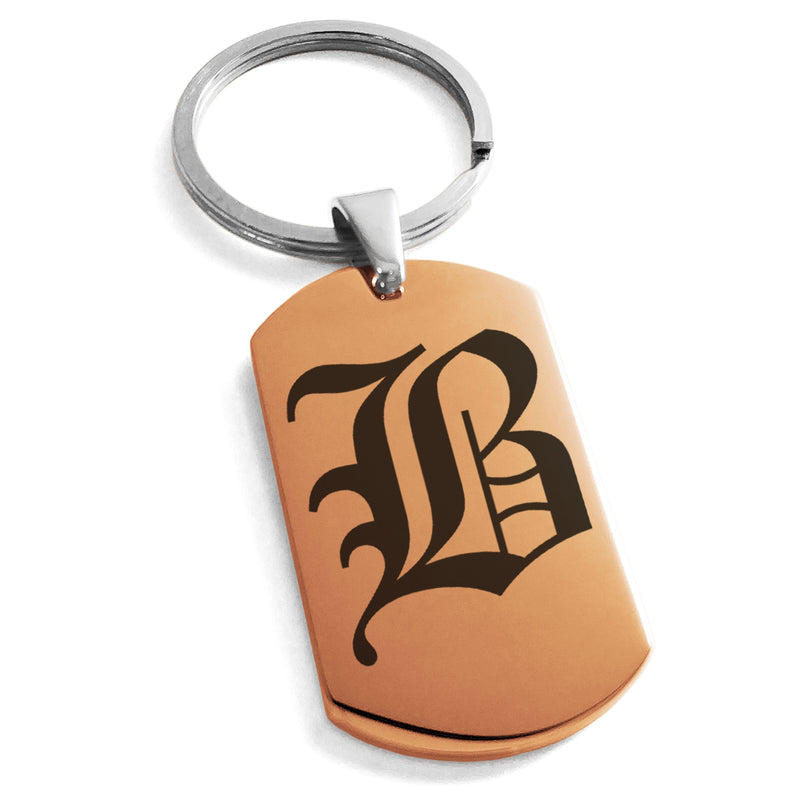 Stainless Steel Letter B Alphabet Initial Old English Monogram Engraved Dog Tag Keychain Keyring - Tioneer