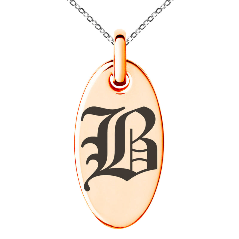 Stainless Steel Letter B Initial Old English Monogram Engraved Small Oval Charm Pendant Necklace