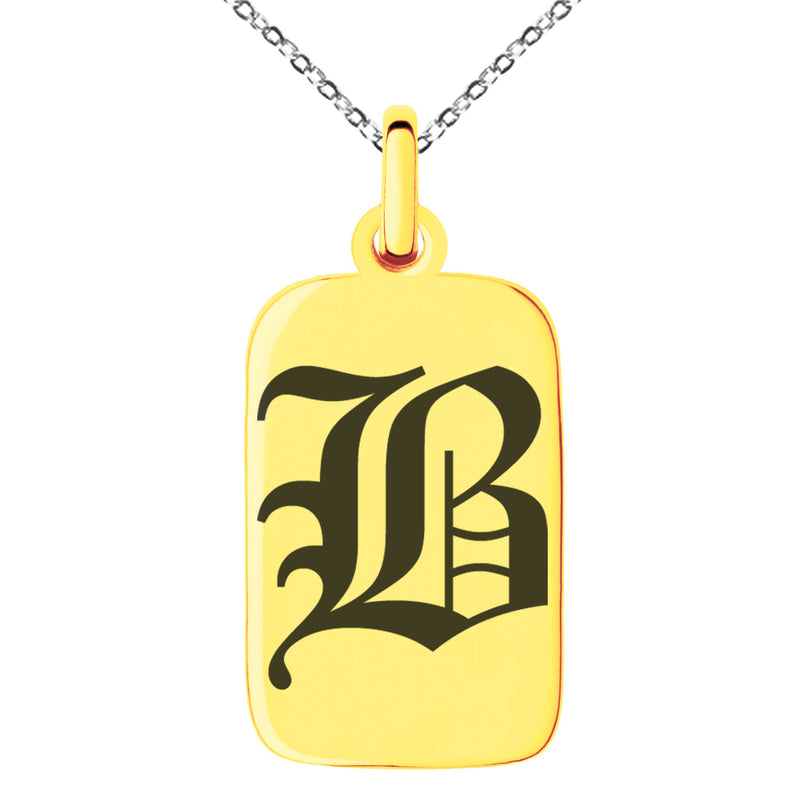 Stainless Steel Letter B Initial Old English Monogram Engraved Small Rectangle Dog Tag Charm Pendant Necklace