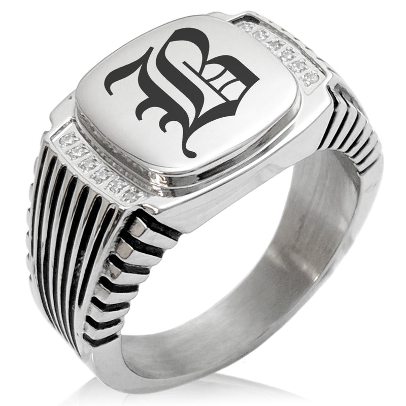 Stainless Steel Letter B Alphabet Initial Old English Monogram CZ Ribbed Needle Stripe Pattern Biker Style Polished Ring - Tioneer