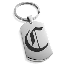 Stainless Steel Letter C Alphabet Initial Old English Monogram Engraved Dog Tag Keychain Keyring - Tioneer