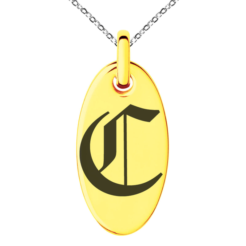 Stainless Steel Letter C Initial Old English Monogram Engraved Small Oval Charm Pendant Necklace