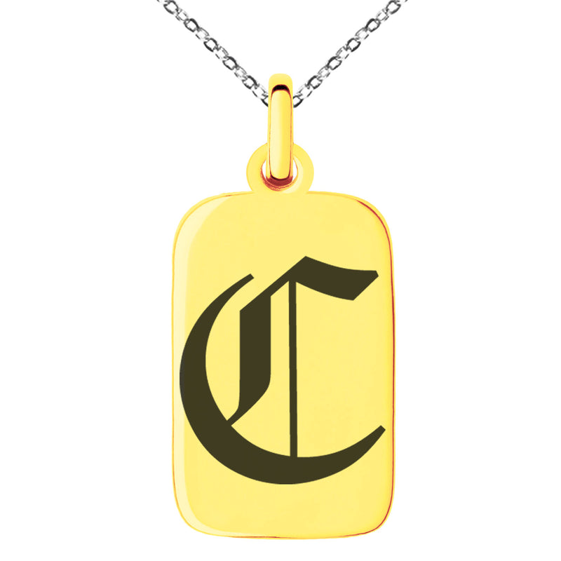Stainless Steel Letter C Initial Old English Monogram Engraved Small Rectangle Dog Tag Charm Pendant Necklace