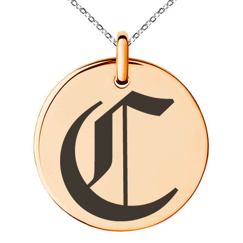 Stainless Steel Letter C Initial Old English Monogram Engraved Small Medallion Circle Charm Pendant Necklace
