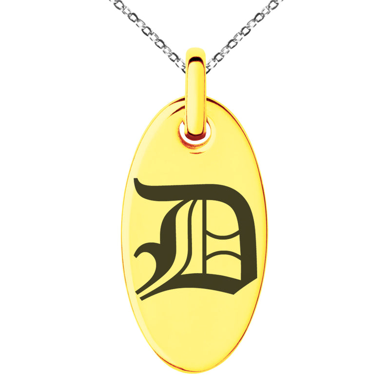 Stainless Steel Letter D Initial Old English Monogram Engraved Small Oval Charm Pendant Necklace