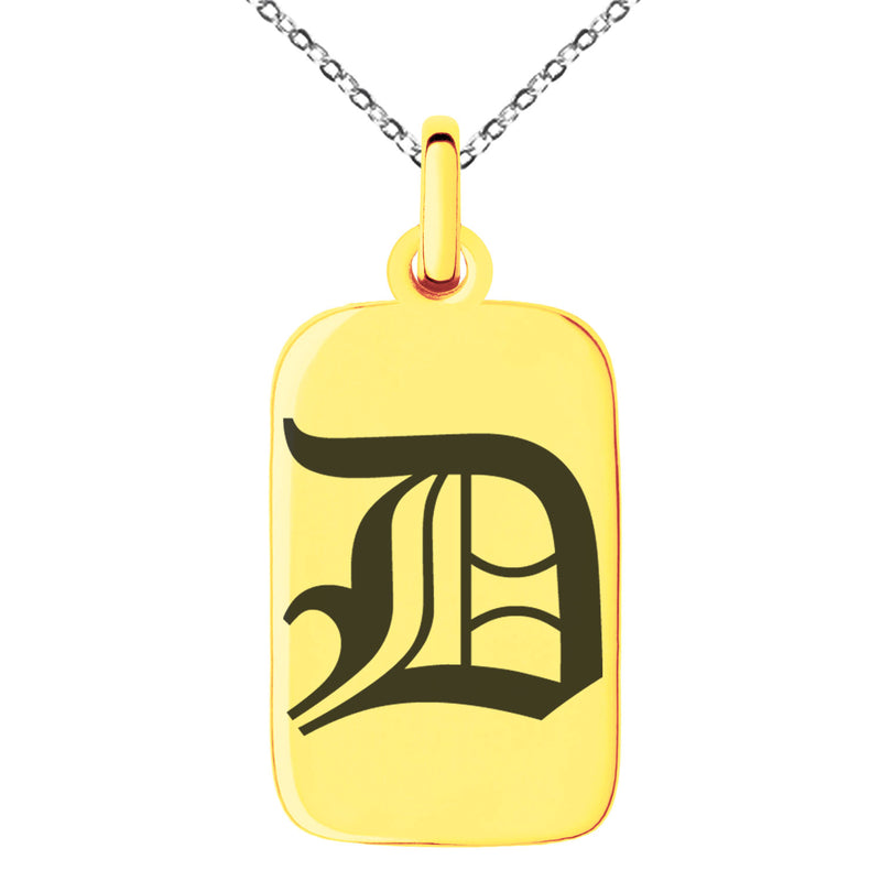 Stainless Steel Letter D Initial Old English Monogram Engraved Small Rectangle Dog Tag Charm Pendant Necklace